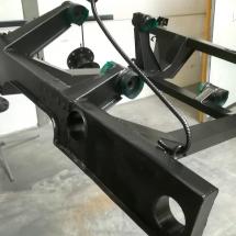 staal | chassis oldtimer Lamborghini | stralen + primer + poedercoaten | RAL 9005 mat | #180149