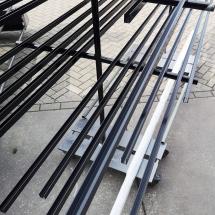poedercoating aluminium glasprofielen | RAL 9005 zwart zijdeglans