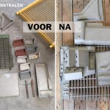 schoonstralen aluminium plaatwerk onderdelen en rooster - voor en na